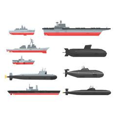 naval combat ships set military boats ships vector image