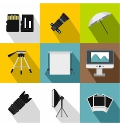 Photographic icons set flat style vector