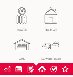 Real estate garage and heat radiator icons vector
