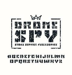 Sanserif stencil plate font and drone store emblem vector