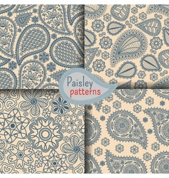 Set of seamless patterns in Indian style vector image vector image