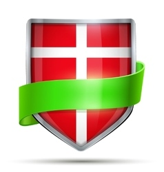 Shield with flag denmark and ribbon vector