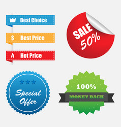 shopping stickers labels sale icons set vector image vector image