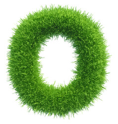small grass letter o on white background vector image vector image