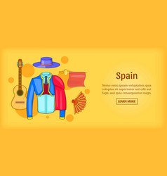 spain banner horizontal corrida cartoon style vector image vector image