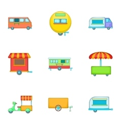 Street food icons set cartoon style vector image