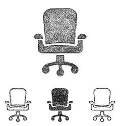 Swivel chair icon set - sketch line art vector image