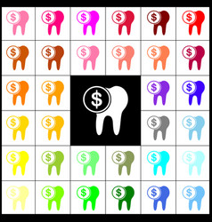 The cost of tooth treatment sign felt-pen vector