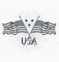 Vintage label hand drawn crossed usa flags happy vector