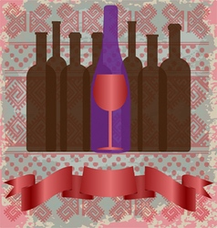 Wine tasting card bottles and a red glass vector