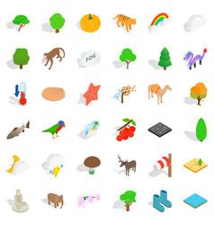 zoo icons set isometric style vector image vector image