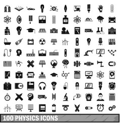 100 physics icons set simple style vector