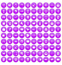 100 postal service icons set purple vector