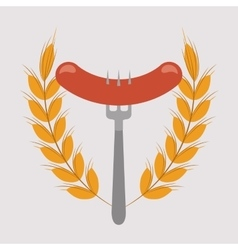 Delicious sausage food icon vector