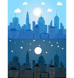 Cityscape at day and night time vector