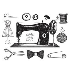 Set of hand drawn sewing handcraft vintage vector
