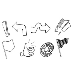 Doodle sets of different symbols vector