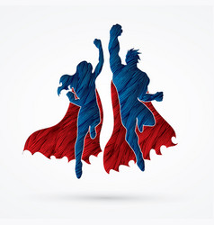 Superhero man and woman jumping team work graphic vector