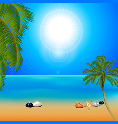 Tropical sunny beach with palm trees vector