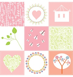 Baby cards set cute design with patterns vector
