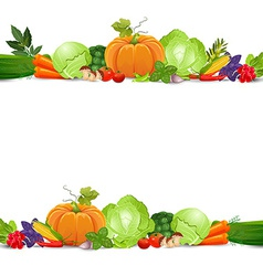 Isolated seamless border with vegetables and herbs vector