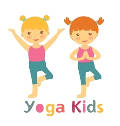 Cute yoga kids card with little girls doing yoga vector