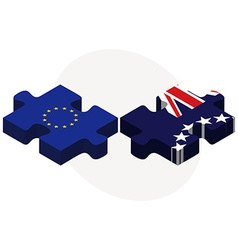 European union and cook islands flags in puzzle vector