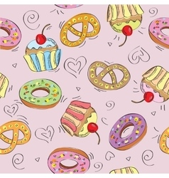 Seamless pattern cakes vector