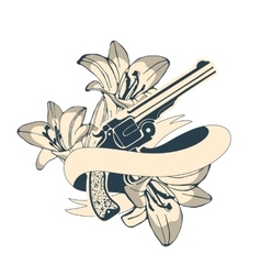 Classic revolvers and lilly flowers emblem vector