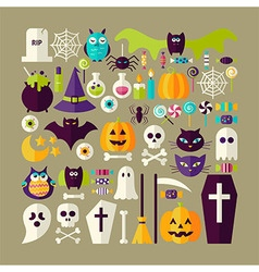 Big flat style collection of halloween holiday vector