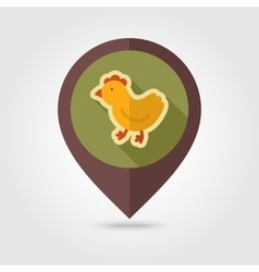 Chicken flat mapping pin icon with long shadow vector