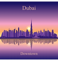 Dubai downtown silhouette on sunset background vector