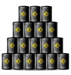 Set of black metal oil barrels vector