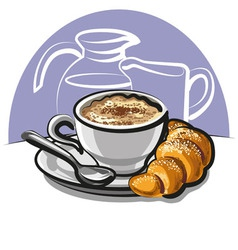 Cappuccino with croissant vector