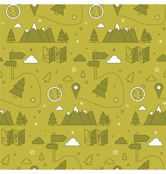Camping seamless pattern in outline style vector