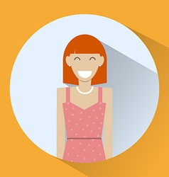 Smiling redhead girl icon vector