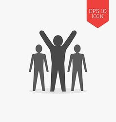 Man with raised hands leadership success icon flat vector