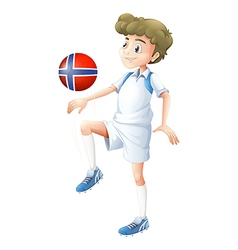 A ball with the flag of Norway played by the vector image vector image