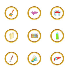 art and drawing tools icons set cartoon style vector image vector image