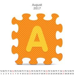 August 2017 puzzle calendar vector