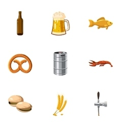 Beer fest icons set cartoon style vector
