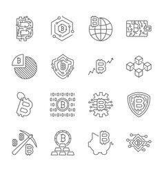 blockchain cryptocurrency icons modern computer vector image vector image