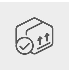 Box with validation mark thin line icon vector