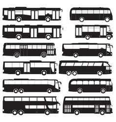 Bus and coach silhouettes vector