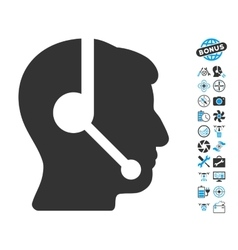 Call center operator icon with air drone tools vector