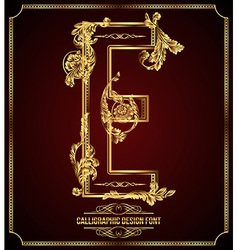 Calligraphic font Letter E vector image vector image