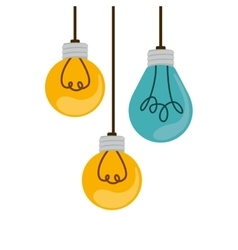 Colorful hanging bulbs with filaments vector