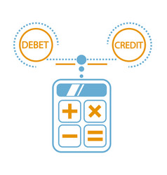 concept of calculation debit and credit vector image