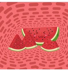 Cute watermelon fruit slice mascot pink disco vector