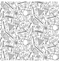 Doodle Music Instruments seamless pattern vector image